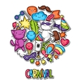 Carnival party kawaii background Cute sticker vector image