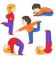 set of isolated children doing exercises yoga vector image