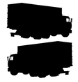 Truck with a container Silhouette vector image vector image