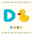 alphabet for children letter d and a duck vector image vector image