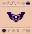 hands holding baby - protection symbol heart vector image
