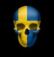 Swedish flag skull vector image