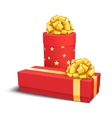 Red Celebration Gift Box with Yellow Gold Bow vector image