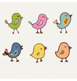Birds collection of line art cartoon color birds vector image