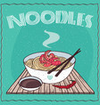 asian noodles ramen or udon with shrimp vector image