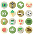 Flat Design Brazil Icons Set vector image