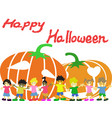 happy children and pumpkins halloween card vector image