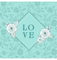 love square retro flowers green background vector image