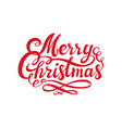 red merry christmas text calligraphic lettering vector image