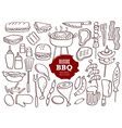 Set of hand drawn BBQ doodles vector image