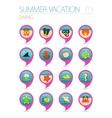 Diving pin map icon set Summer Vacation vector image