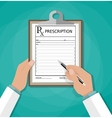 prescription clipboard and pen Rx form vector image