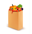Background with fresh vegetables in paper bag vector image vector image