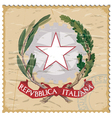 Coat of arms of Italy on the old postage stamp vector image vector image