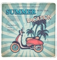Vintage with a retro scooter vector image