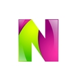 N letter green and pink logo design template vector image