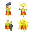 Superhero cartoon character power icons set vector image