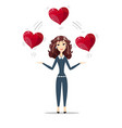 woman holding hearts vector image