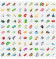 100 emblem icons set isometric 3d style vector image