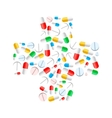 Colourful pills in cross shape isolated on white vector image