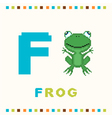 alphabet for children letter f and a frog vector image vector image