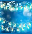 light garlands blue bokeh background eps 10 vector image