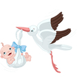 Stork And Baby Boy vector image