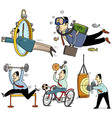 Businessmen making sport vector image vector image