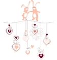 Hearts and rabbits on white vector image vector image