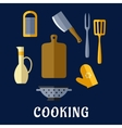Food utensils and kitchenware flat icons vector image