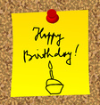 A paper note with message HAPPY BIRTHDAY vector image