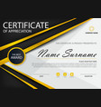 gold black elegance certificate template set vector image