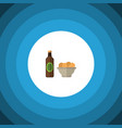 isolated snacks flat icon beer with chips vector image