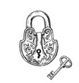 lock and key engraving vector image