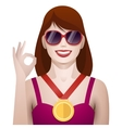 pretty woman winner with medal vector image