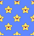 seamless pattern with smiley kawaii stars vector image