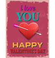Valentines Day Poster Retro Vintage design I Love vector image
