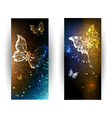 Two Banners with Glowing Butterflies vector image vector image