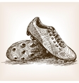 Football boots hand drawn sketch style vector image
