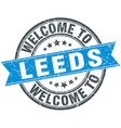 welcome to Leeds blue round vintage stamp vector image