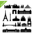 paris france landmark silhouettes vector image