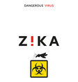 Stop zika Dangerous virus Caution virus threat vector image