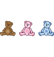 three teddy bears vector image