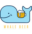 Whale with negative space beer mug design template vector image
