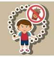 cartoon child fast food danger symbol vector image