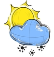 Cloud with snowflakes and sun weather icon vector image