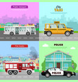 transport collection of four automobile pictures vector image