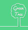 Green tree abstract line art simple poster design vector image