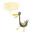 funny cartoon duck with speech bubble vector image