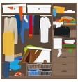 Open wardrobe with mess clothes vector image